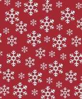 60x kerst servetten rood witte kerst sneeuwvlokken 33 x 33 cm