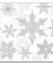 60x servetten winter kerst sneeuwvlokken thema wit zilver 33 x 33 cm