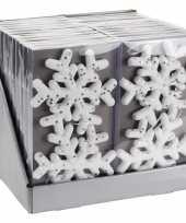6x foam kerst sneeuwvlokken kersthangers wit met glitter 15 cm