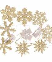 8x kersthangers figuurtjes gouden kerst sneeuwvlok ster 10 cm glitter