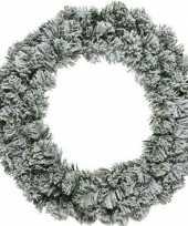 Groen witte kerstkrans 50 cm imperial met kunstkerst sneeuw