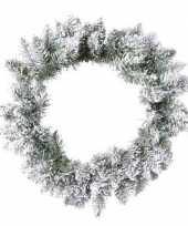 Groen witte kerstkrans 80 cm pencil pine met kunstkerst sneeuw