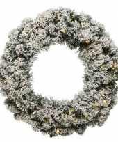 Groen witte led kerstkrans 60 cm imperial met kunstkerst sneeuw