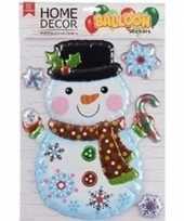 Kerst decoratie 3d raamstickers kerst sneeuwpop 28 x 41 cm