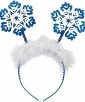 Kerst diadeem tiara blauw met kerst sneeuwvlokken