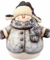 Kerst kerst sneeuwpop beeldje 19 cm met jas