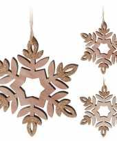 Kerstversiering hout kerst sneeuwvlok hangers 12 cm 2 stuks