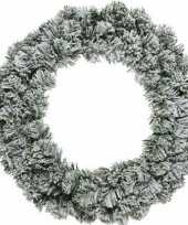 Set van 2x stuks groen witte kerstkrans 60 cm imperial met kunstkerst sneeuw